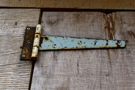 An old fashioned hinge on a rustic wooden door