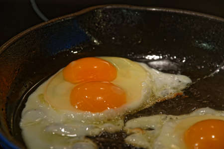 A fried breakfast has the surprise of a double-yolked egg