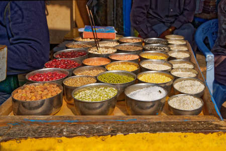 An array of colourful and delicious spices ready to be bought off a street trader in India.
