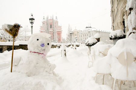 ljubljana: Snowman - Ljubljana - Slovenia Stock Photo