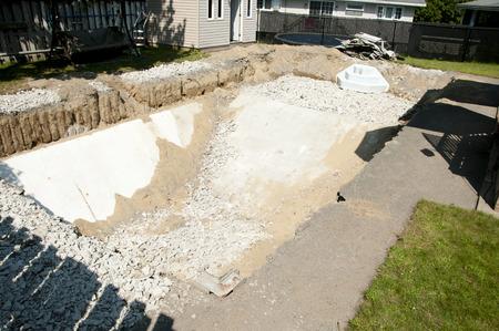 スイミング プールの建設 写真素材