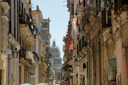 cuba: Narrow Street - Old Havana - Cuba Stock Photo
