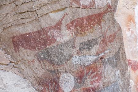 peinture rupestre: Cave des Mains - Argentine Banque d'images