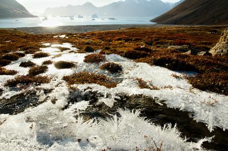 sund: Ice Crystals - Scoresby Sound - Greenland Stock Photo