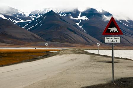 street signs: Polar Bear Warning Sign - Longyearbyen - Svalbard