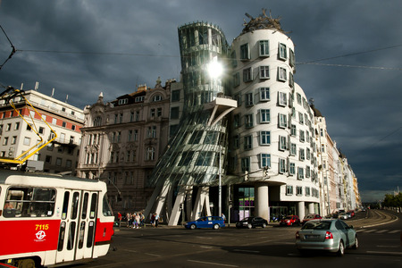 dancing house: PRAGUE, CZECH REPUBLIC - July 30, 2013: The Dancing House, designed by Vlado Milunic & Frank Gehry, is also called Fred & Ginger and was completed in 1996