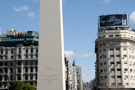 obelisco: BUENOS AIRES, ARGENTINA - May 6, 2015: The Obelisk is the icon of Buenos Aires in the Plaza de la Republica built in 1936