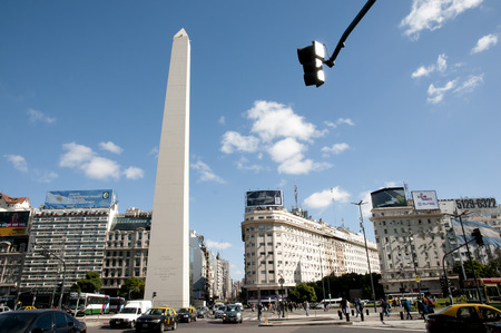BUENOS AIRES, ARGENTINA - May 6, 2015: The Obelisk is the icon of Buenos Aires in the Plaza de la Republica built in 1936