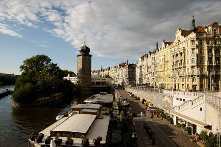 vltava: Banks of Vltava River - Prague - Czech Republic