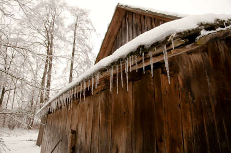 icicles: Icicles On Old Barn Stock Photo