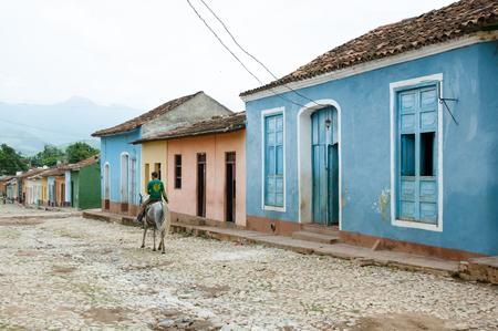 Colorful Cobble Street - Trinidad - Cuba Stock Photo