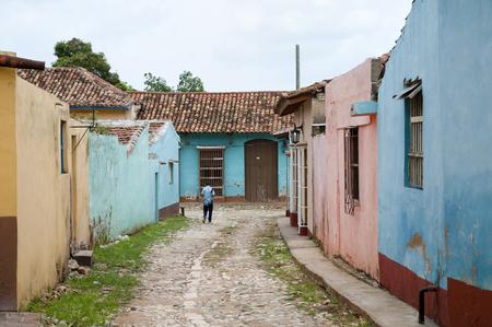 cobble: Colorful Cobble Street - Trinidad - Cuba Stock Photo