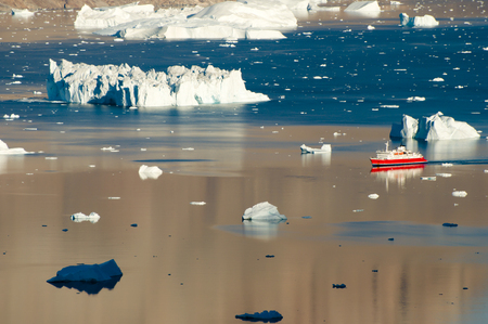 sund: Icebergs Fjord from Expedition Ship - Scoresby Sound - Greenland Stock Photo