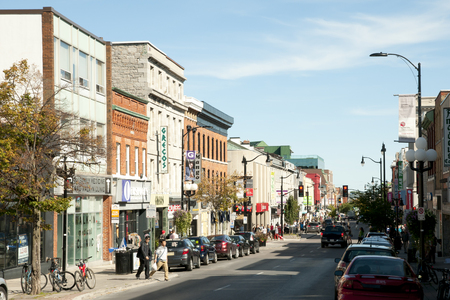 kingston: KINGSTON, CANADA - September 20, 2015: City scene on Princess street which is the main retail street of downtown Kingston