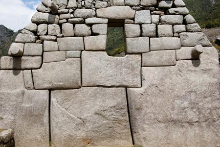 インカの石レンガ建設 - マチュピチュ - ペルー 写真素材