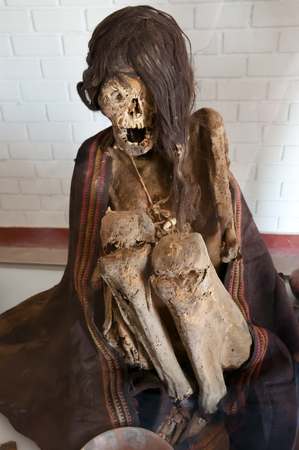 mummification: Mummy - Chauchilla Cemetery - Peru Stock Photo