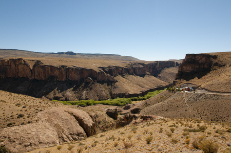 manos: Pinturas River Canyon viewed from the Cave of the Hands - Argentina Stock Photo