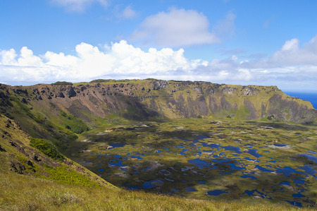 volcano slope: Rano Kau Crater - Easter Island