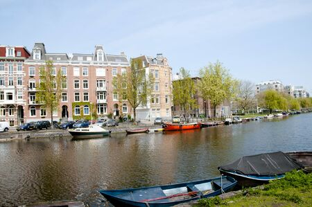 the netherlands: Canal in Amsterdam - Netherlands