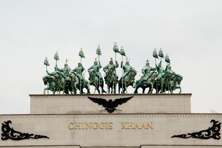 khan: Entrance Gate to Genghis Khan Statue - Mongolia Stock Photo