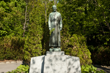 oratory: Brother Andre Statue at the Oratory - Montreal - Canada Stock Photo