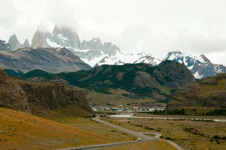 el chalten: Fitzroy Peaks - El Chalten - Argentina Stock Photo