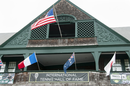 honors: NEWPORT - RHODE ISLAND, USA - JULY 18, 2015: The International Tennis Hall of Fame honors tennis players and contains a collection of memorabilia.
