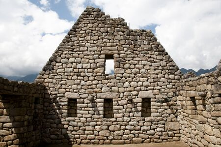 machu picchu: Inca Stone Bricks Construction - Machu Picchu - Peru Stock Photo