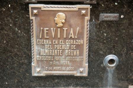 evita: Eva Peron Grave Plaque - Buenos Aires - Argentina