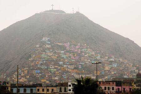 lima: Colorful Houses in Fog - Lima - Peru