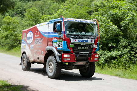 TUCUMAN, ARGENTINA - JANUARY 15, 2015: Stage 11 of the annual Dakar race. Shown on the photo is vehicle 523: EurolVeka Man Rally Team (Belgium-Netherlands)