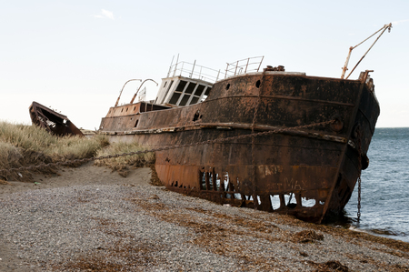 strait of magellan: Shipwreck - Magellan Strait - Chile Stock Photo