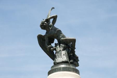 fallen angel: Fallen Angel Statue - Madrid - Spain Stock Photo