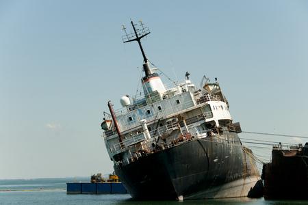 ship wreck: Capsized Ship - Beauharnois - Canada Stock Photo