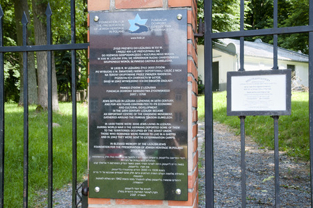 rabbi: LEZAJSK, POLAND - June 22, 2016:  Jewish cemetary memorial plaque of Elimelech who was a Rabbi and one of the founding Rebbes of the Hasidic movement