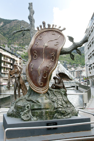 nobility: ANDORRA LA VELLA, ANDORRA - May 22, 2016: The Nobility of Time is a Salvador Dali sculpture placed in the Piazza Rotonda in the capital city.