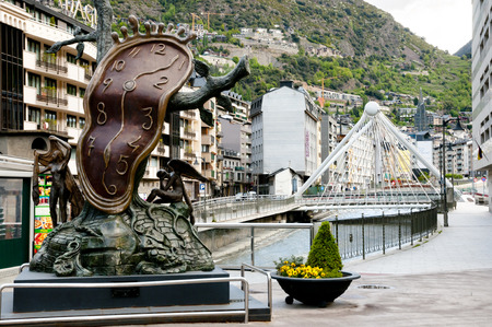 ANDORRA LA VELLA, ANDORRA - May 22, 2016: The Nobility of Time is a Salvador Dali sculpture placed in the Piazza Rotonda in the capital city.