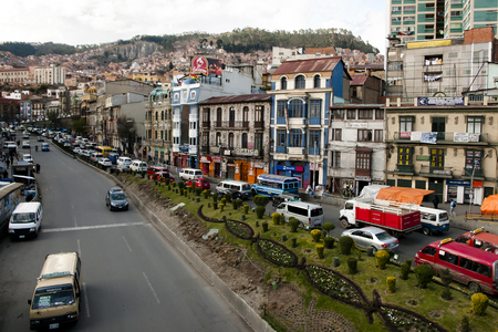 LA PAZ, BOLIVIA - September 5, 2014: Daily traffic in the highest altitude capital of the world