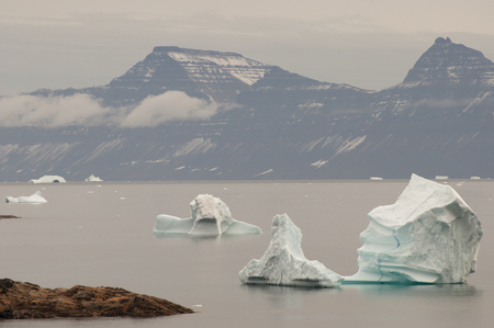 expeditions: Icebergs Fjord - Scoresby Sound - Greenland Stock Photo