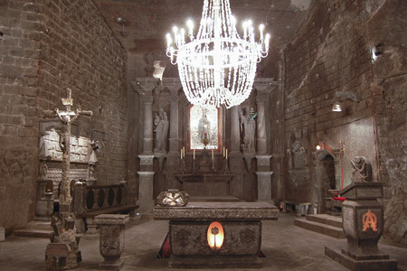 carved stone: Carved Stone Church - Wieliczka Salt Mine - Poland