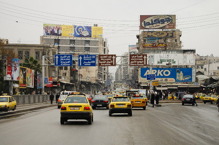 ALEPPO, SYRIA - JANUARY 12, 2010:  Daily traffic in the city of Aleppo before the outbreak of the civil war
