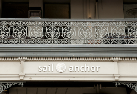 replaced: FREMANTLE, AUSTRALIA - September 11, 2016:  Balcony facade of historic Sail and Anchor Hotel which replaced the original hotel built in 1854