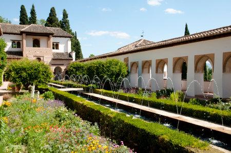 grenada: Fountains of Generalife Palace in the Alhambra - Granada - Spain Editorial