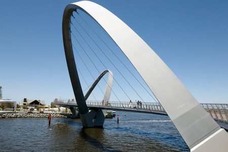tourist attractions: Elizabeth Quay Bridge - Perth - Australia Stock Photo