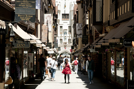 PERTH, AUSTRALIA - October 30, 2016: London Court is a popular tourist shopping arcade and is included it in the State Heritage Register