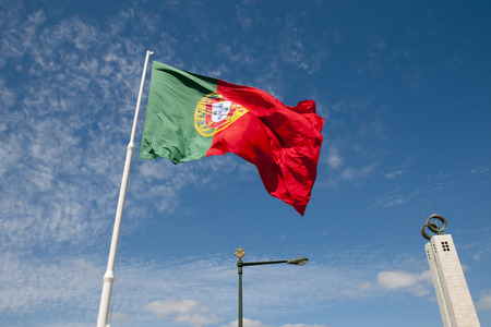 parque: Flag in Parque Eduardo VII - Lisbon - Portugal