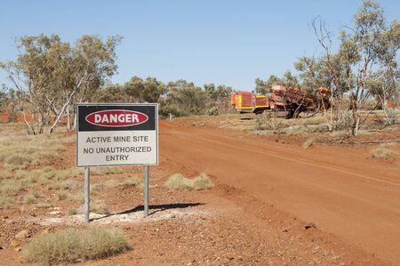 mine site: Active Mine Site Sign Stock Photo