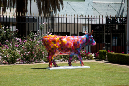 fibra de vidrio: PERTH, AUSTRALIA - October 30, 2016: CowParade has grown to become the largest and most successful temporary public art event in the world where local artists transform sculptures into unique art