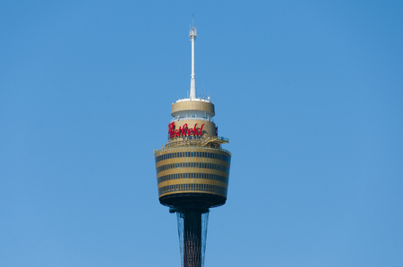 amp tower: SYDNEY, AUSTRALIA - December 12, 2016: Sydney Tower is the second tallest observation tower in the Southern Hemisphere and was designed by Australian architect Donald Crone