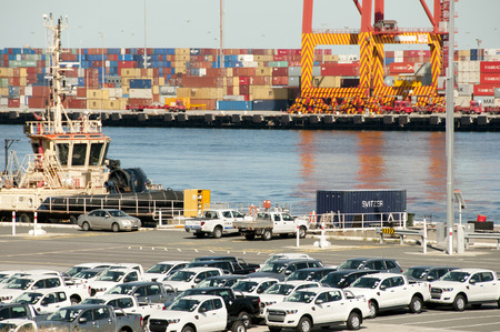 FREMANTLE, AUSTRALIA - October 28, 2016: The Port of Fremantle handles the importation of new motor vehicles with up to 100000 vehicles imported annually Editorial